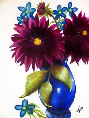 Painting - Purple Dahlia With Blue Flowers by Joni McPherson
