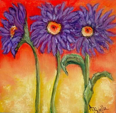 Painting - Purple Daisies by Annamarie Sidella-Felts