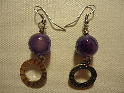 Purple Doodle Drop Earrings Original by Jenna Green