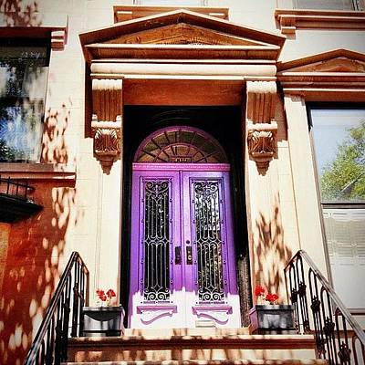 City Photograph - Purple Door - Brooklyn - New York City by Vivienne Gucwa