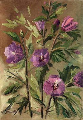 Painting - Purple Flowers 2 by Rachel Hershkovitz