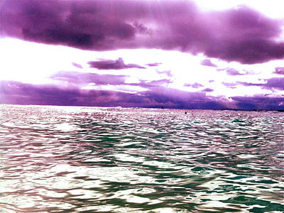 Digital Art - Purple-green Ocean by Erika Swartzkopf