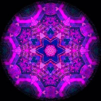 Fractal Wall Art - Photograph - #purple #hippie #mandala #picture On by Pixie Copley