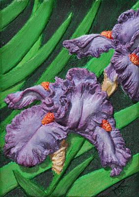 Purple Iris Flowers Sculpture Art Print by Valerie  Evanson