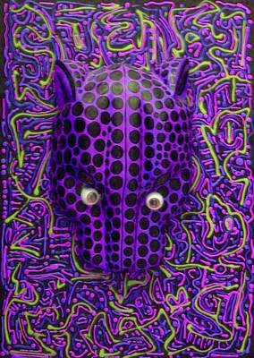 Purple Jaguar Head Art Print