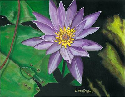 Lilly Pond Painting - Purple Lilly Dew Drop by Elaine Haakenson