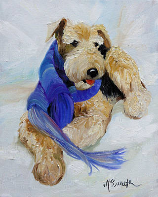Airedale Terrier Painting - Purple Scarf by Mary Sparrow