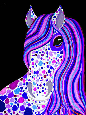 Animals Drawings - Purple Spotted Horse by Nick Gustafson