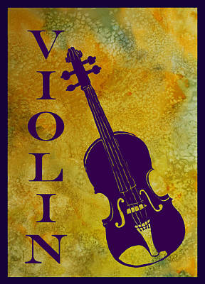 Music Digital Art - Purple Violin On Gold by Jenny Armitage