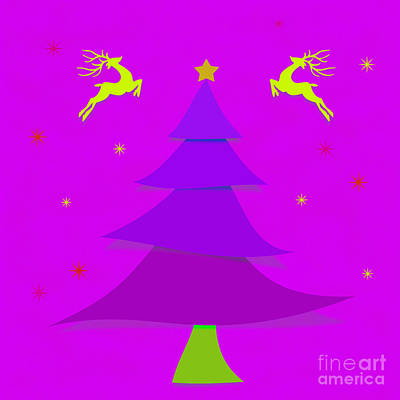 Digital Art - Purple X'mas by Atiketta Sangasaeng