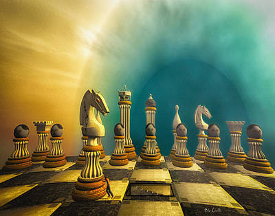 Surrealism Royalty Free Images - Pushing Back The Knight Royalty-Free Image by Bob Orsillo