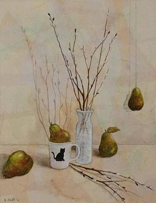 Painting - Pussywillows And Pears by Sandy Clift