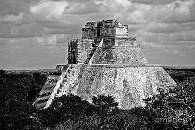 Photograph - Pyramid Of The Magician At Uxmal Mexico High Contrast Black And White by Shawn O'Brien