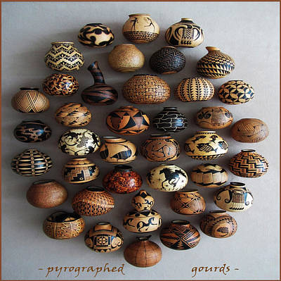 Pyrography - Pyrographed Custom Gourds by Dino Muradian