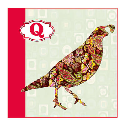 Education Painting - Q Is For Quail by Elaine Plesser