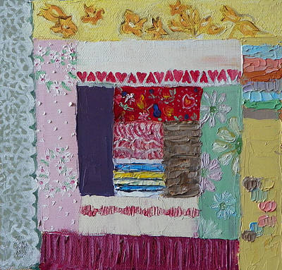 Painting - Q Is For Quilt Detail From Childhood Quilt Painting by Dawn Senior-Trask
