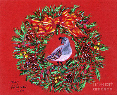 Art Print featuring the painting Quail Holiday Greeting Card by Judy Filarecki