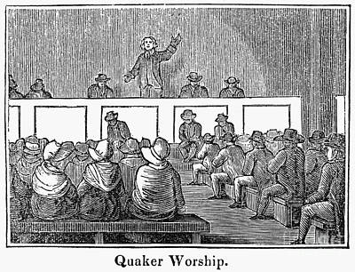 Quaker Meeting Photograph - Quaker Worship, 1842 by Granger