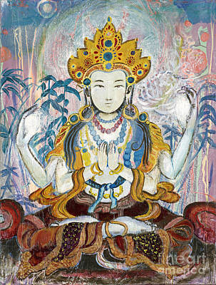 Indian Lore Painting - Quan Yin by Tanya Kimberly Orme