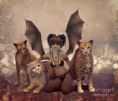 Queen Of Cats Art Print by Jutta Maria Pusl