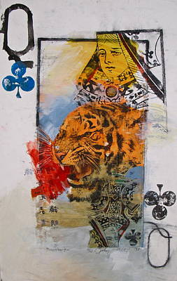 Art Print featuring the painting Queen Of Clubs 4-52  2nd Series  by Cliff Spohn