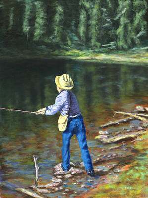 Painting - Queo Fishing At 10000 Ft Above Penasco Nm by William Frew