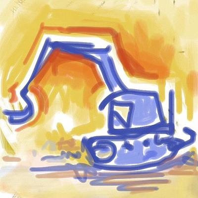 Brush Wall Art - Photograph - #quick #sketch Of An #excavator by Jeff Reinhardt