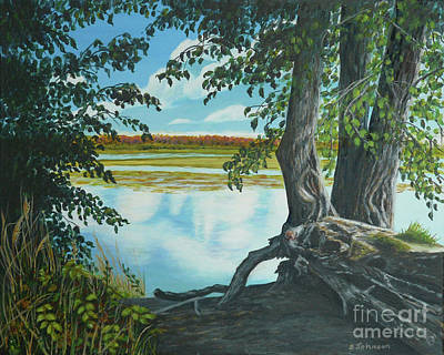 Tree Roots Painting - Quiet Waters by Sheryn Johnson