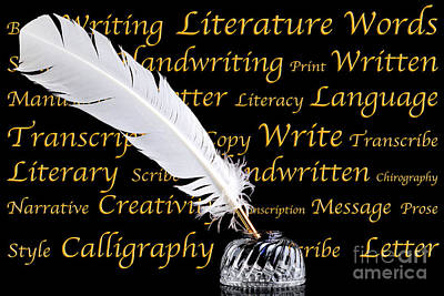 Quill Pen And Inkwell On Black Background Art Print by Richard Thomas