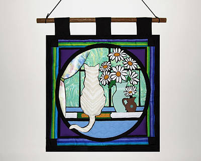 Wall Hanging Quilt Photograph - Quilted Cat by Sally Weigand
