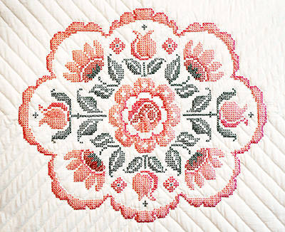 Hand Quilted Photograph - Quilted Centerpiece by Marilyn Hunt