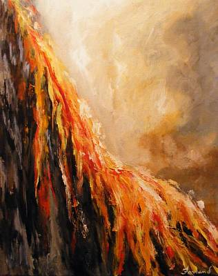 Art Print featuring the painting Quite Eruption by Karen  Ferrand Carroll
