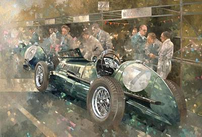 Track Team Painting - R. Parnell's Maserati  by Peter Miller