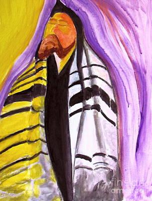 Painting - Rabbi Praying With Kabbalah by Stanley Morganstein