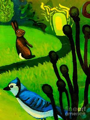 Eco-art Painting - Rabbit And Blue Jay by Genevieve Esson
