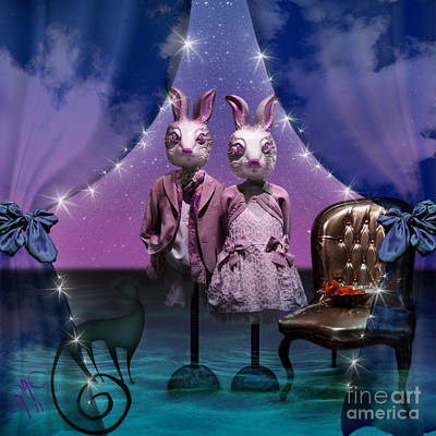 Rabbits In Love Art Print