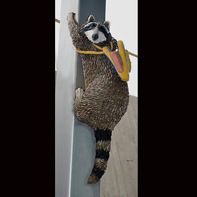 Faducci Sculpture - Raccoon At The Northwest Library In Oklahoma City Ok by Faducci- Solomon Bassoff Domenica Mottarella