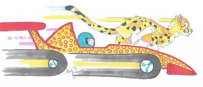 Cheetah Drawing - Race Car And Cheetah Cartoon by Mike Jory