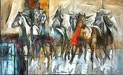 Painting - Racehorses by Ben Rotman