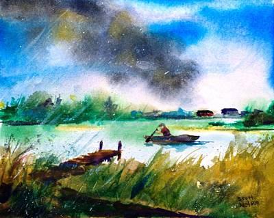 Millbury Ma Painting - Racing Back by Scott Nelson