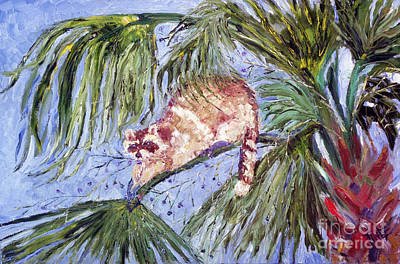 Bandit Painting - Racoon In Palm by Doris Blessington