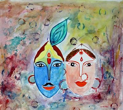 Holi Painting - Radhakrishna Holi by Sonali Gangane