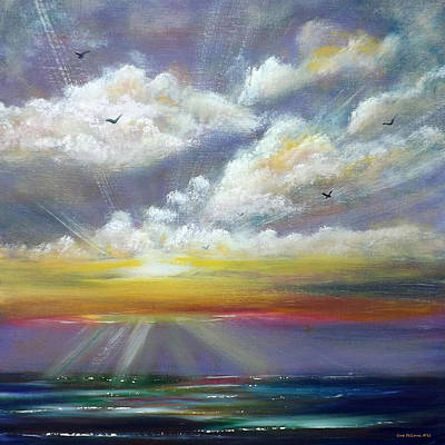 Painting - Radiance - Square Sunset by Gina De Gorna