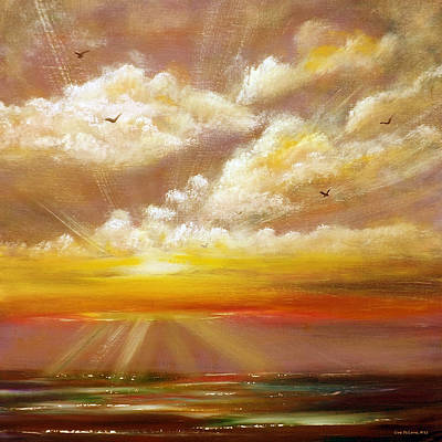 Painting - Radiance - Square Sunset Painting by Gina De Gorna