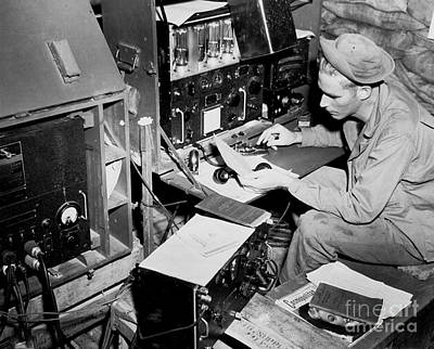 Control Center Photograph - Radio Operator Operates His Scr-188 by Stocktrek Images