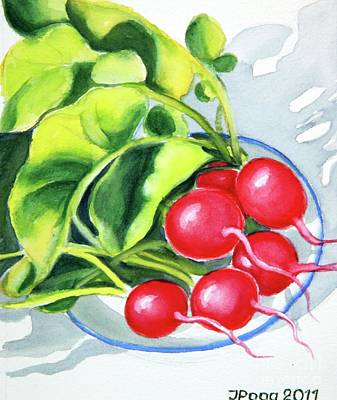 Painting - Radishes On Plate 2 by Inese Poga