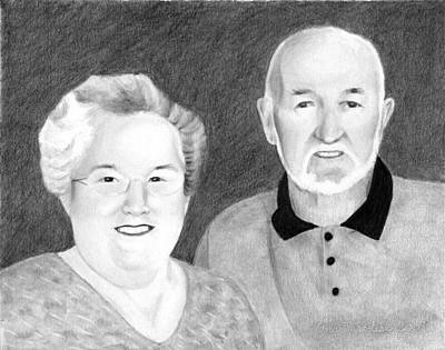 Print featuring the drawing Raeleen And Jim Campbell by Ana Tirolese