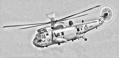 Photograph - Raf Sea King Helicopter Sketch by Steve Purnell