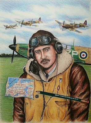 Raf Drawing - Raf Wartime Pilot And Pencil by Andrew Read