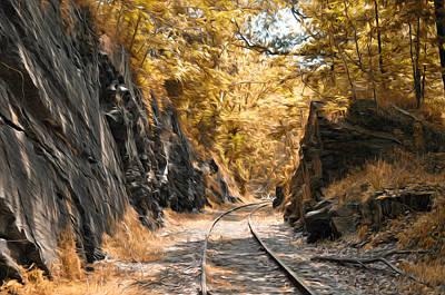 Autumn Photograph - Rail Road Cut by Bill Cannon